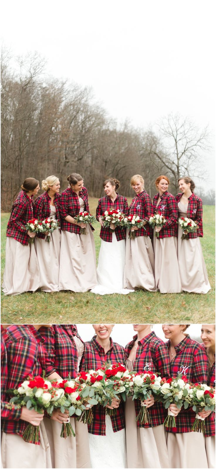 Wintery wedding with red flannel shirts for the bridesmaids - such a cute idea!