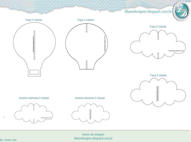 Mobile de encaixe (nuvens e balão) - feltro |