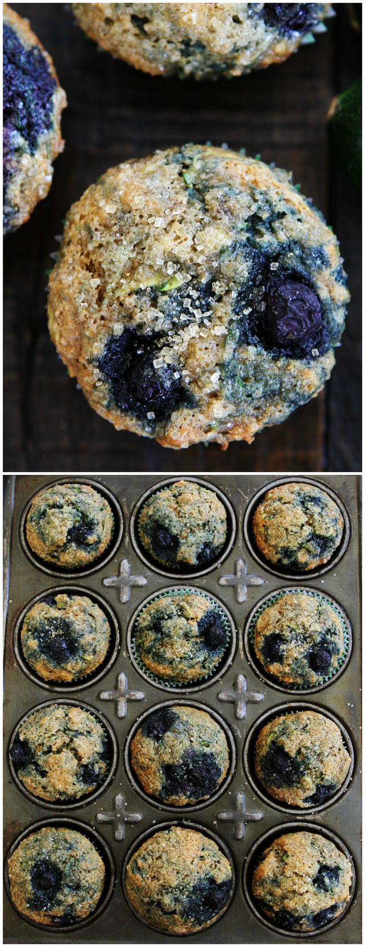 Zucchini Banana Blueberry Muffins on twopeasandtheirpod.com These delicious and healthy muffins are made with zucchini, banana, and blueberries! Kids and adults love them!
