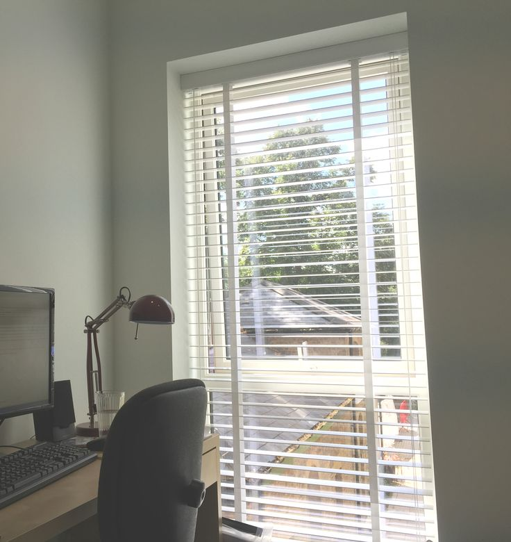Wood venetian blind | Pure white blind for home office/study | New apartment at Linden Homes development | Bow, London | Made to measure blinds | Made in UK | Modern blinds