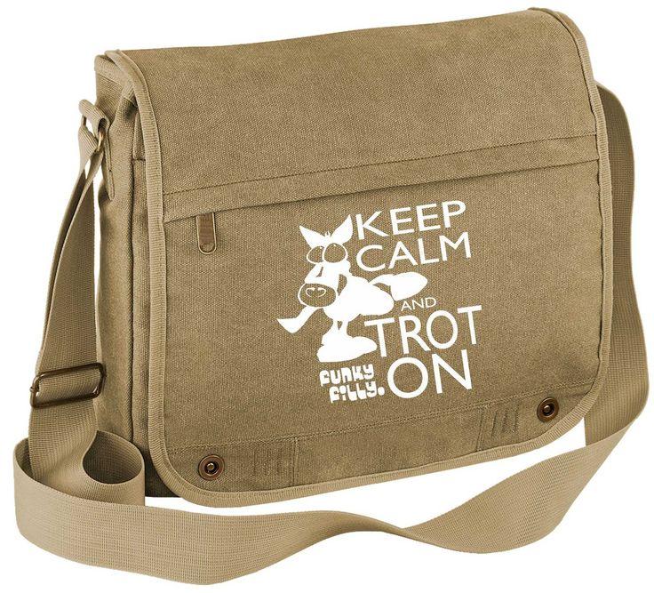 Keep Calm and Trot On Vintage Canvas Messenger Bag