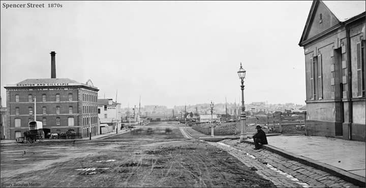 Spencer St,Melbourne near Collins St in 1870.