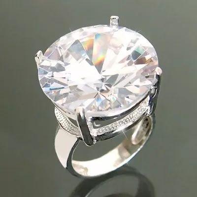 solitário prata 925 maciça anel de compromisso zircônia 20mm