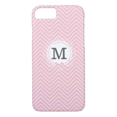 Pastel pink white vintage elegant chevron monogram iPhone 8/7 case #pastel #iphone #protective #cases