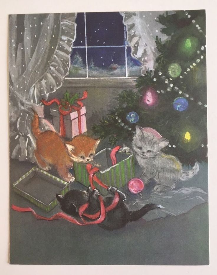 Vintage Christmas Card Front Kitty Cat Present Tree Pink Ornament House Window