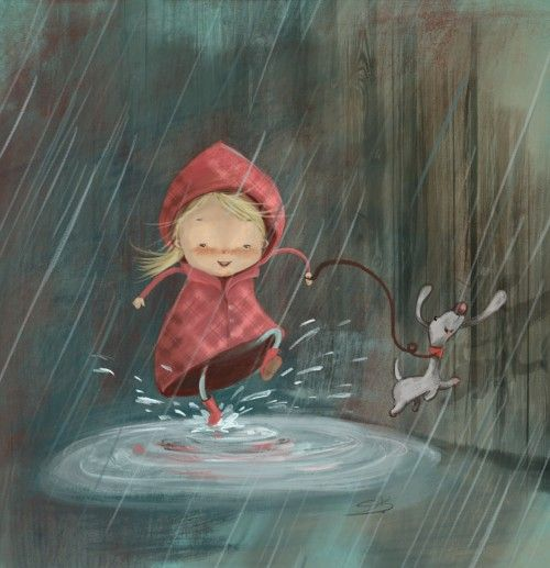 Adorable little girl and her dog in the rain splashing in puddles illustration