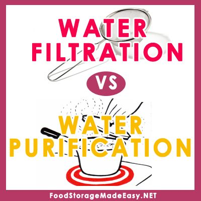 understand the difference between water filtration and purification, and how it can help you in a long term emergency situation