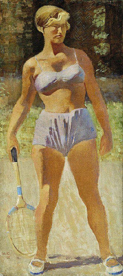 Самохвалов. На теннисной площадке. Девушка с ракеткой. 1935