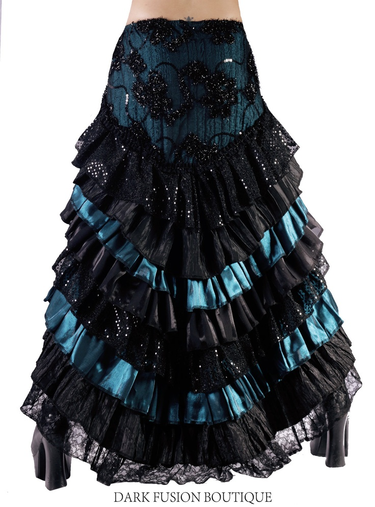 Ruffle Skirt, Black and Indian Red, Cabaret, Vaudeville, Steampunk, Vampire, Noir, Gothic, Witchy, Black Rock, Dance