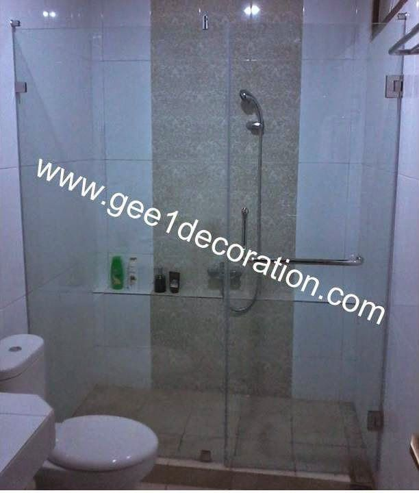 aluminium, kusen, kaca, partisi,  pintu, jendela, lipat, geser, swing, jungkit, pivot, sliding, : shower glass to wall