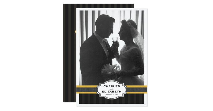 Feature the celebrated couple with an original wedding photo or a photo from today in this lovely black, white and gold photo card party invitation.  An elegant text with subtle tuxedo striped background with faux ribbon accent on the front that features a large photo of the special couple and makes for a beautiful presentation to family and guests.  Each line of text is easily customized to perfectly suit your needs and party plans.