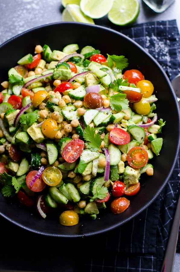 Chickpea Avocado Salad is tasty and easy chickpea salad recipe with tomato, cucumber, red onion, lemon or lime, olive oil, salt and pepper. | ifoodreal.com