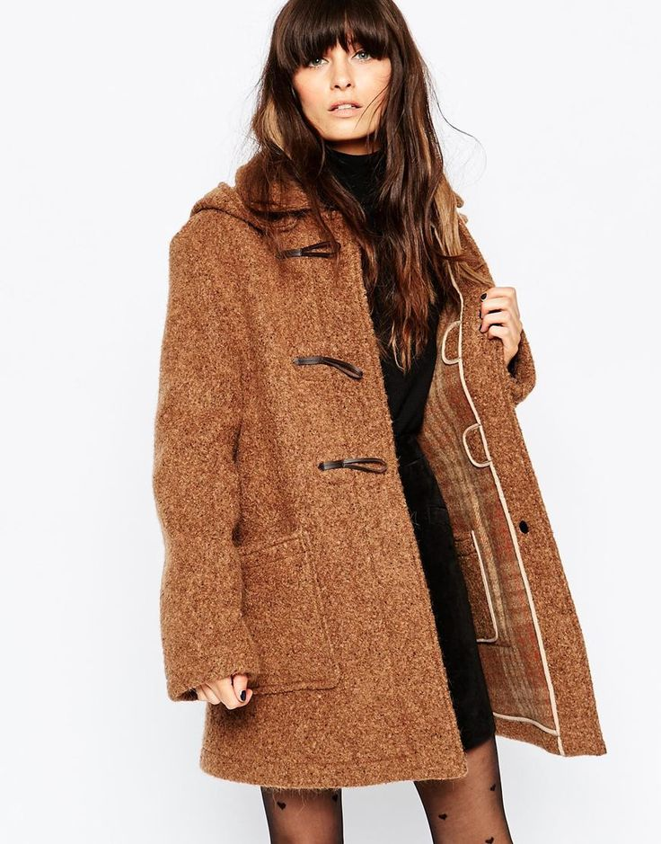 Image 1 ofGloverall Textured Duffle Coat