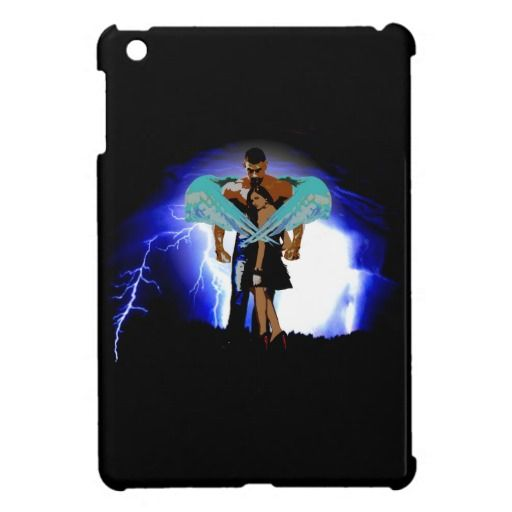 Angel Man Protecting Woman From Storm iPad Case - This iPad case design features an angel man protecting a woman from the storm with his wings.