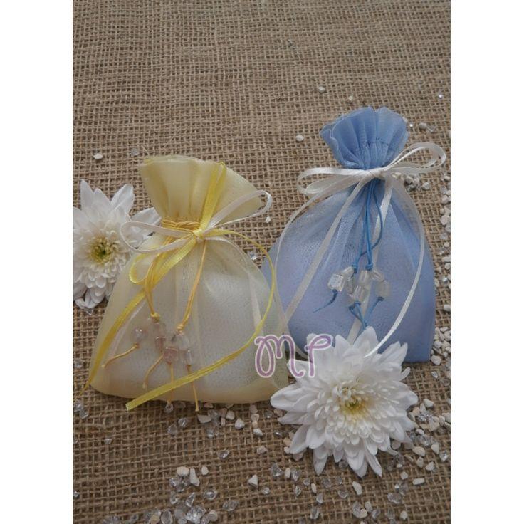 Μπομπονιέρα γάμου. Μπομπονιέρες γάμου πουγκί από οργάντζα μπλε και κίτρινη