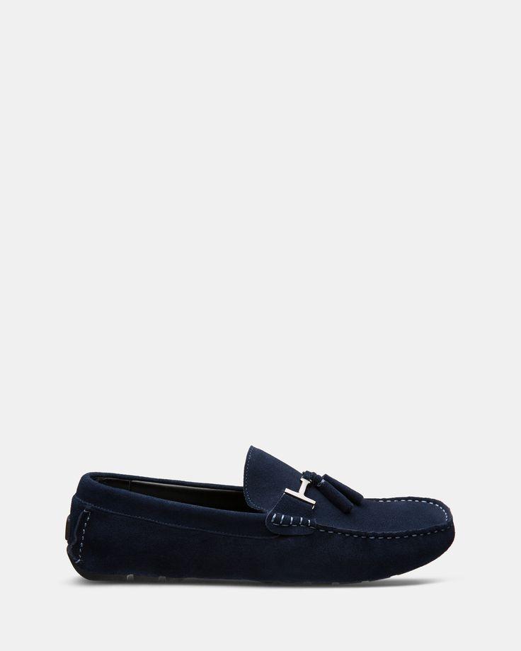 FÅNE - Buckle Dark Blue Suede Loafers