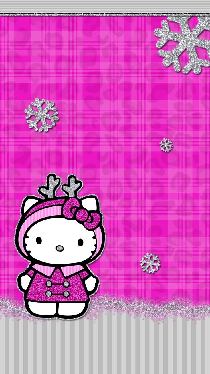 #pink #christmas #wallpaper #iphone #android #hello_kitty