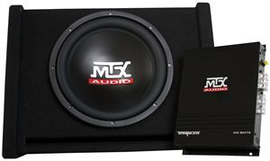 MTX Audio TNP112D Car Audio Subwoofer Enclosure And Amplifier combo package.