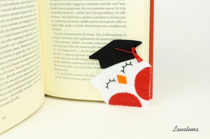 Segnalibro gufo laureato, segnalibro ad angolo, stupendo regalo per neolaureato/neolaureata, bomboniera laurea, cappello tocco da laureato di Lanatema su Etsy
