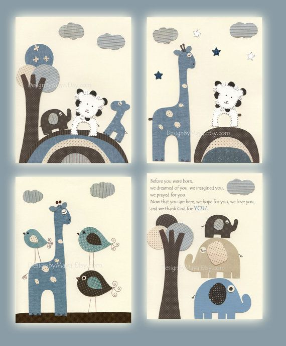 Baby art Nursery wall art print Baby boy room set by DesignByMaya, $65.00