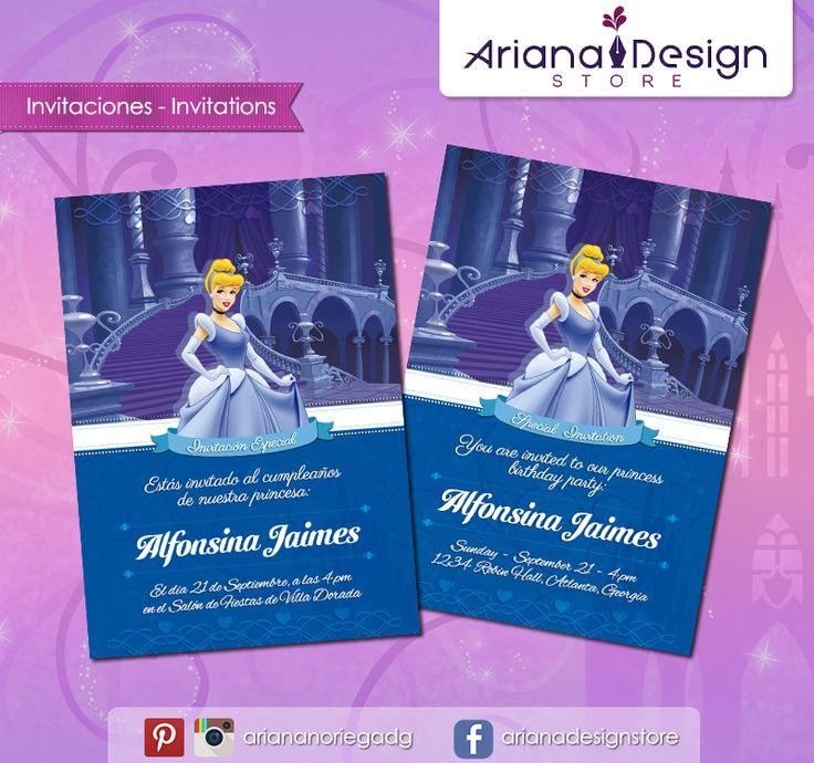 #printable #invitation #disneyprincess #cinderella #cenicienta #arianadesignstore #invitacion #fiestainfantil #cumpleaños #princesadisney