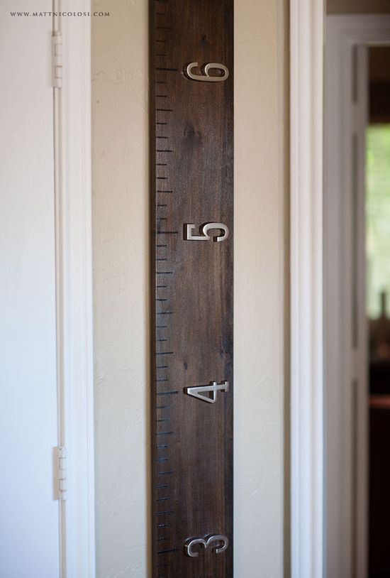 Really want to make this over-sized ruler growth chart for marking the kids' height. So cool. Good instructions here on Matt Nicolosi's photog blog. ( Now that I just finished burning the numbers on the wood- i like the raised metal look).