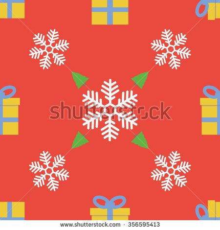 Merry Christmas and Happy New Year! Snowflakes, gift boxes, xmas tree seamless pattern.Christmas pattern. Illustration of Christmas pattern with white snowflakes on red background. - stock vector