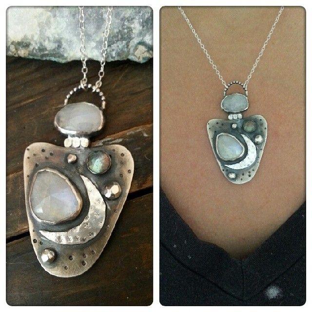 Moon stone, sterling silver necklace #starnative https://www.etsy.com/shop/starnative