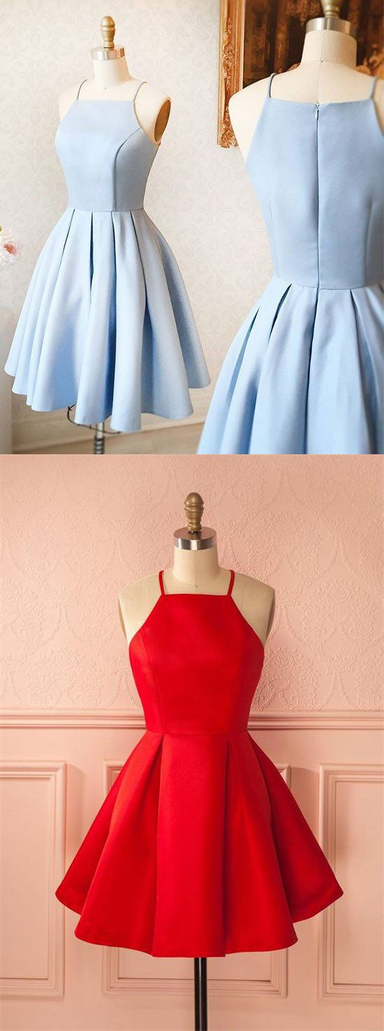 Simple Cheap Short Light Blue Satin Cute Zipper Back Homecoming Dresses,Prom Dresses,Prom Dresses For Teens