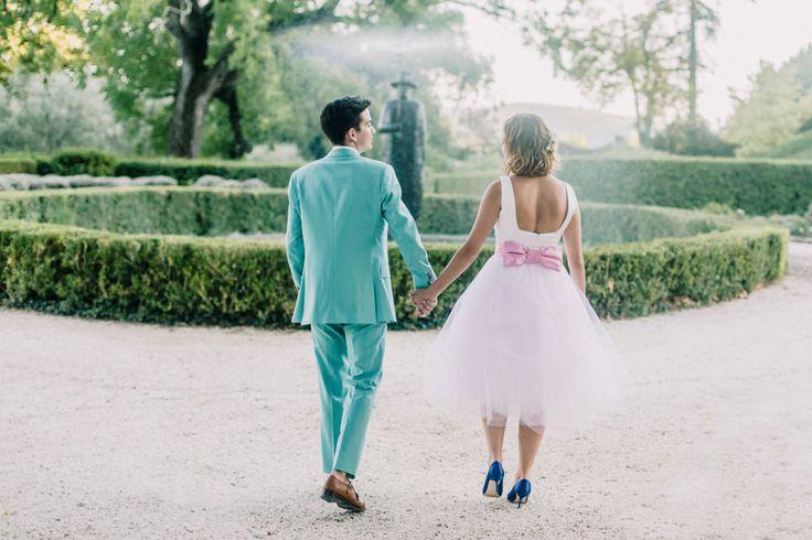 Chateau Sainte-Roseline South of France | Destination Wedding | Bespoke Short Wedding Dress | Turquoise Paul Smith Suit | Charlotte hu Photography | http://www.rockmywedding.co.uk/milly-simon/