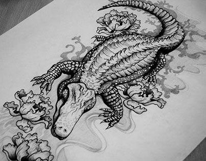 Amazing Black Ink Alligator Tattoo Design