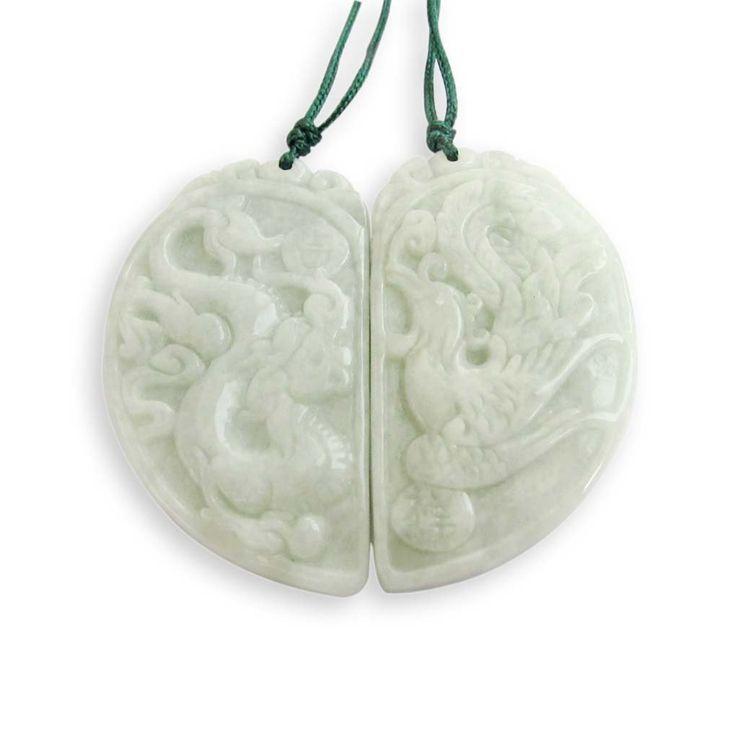 Jadeite Jade Dragon Phoenix Love Pair Amulet Pendant: