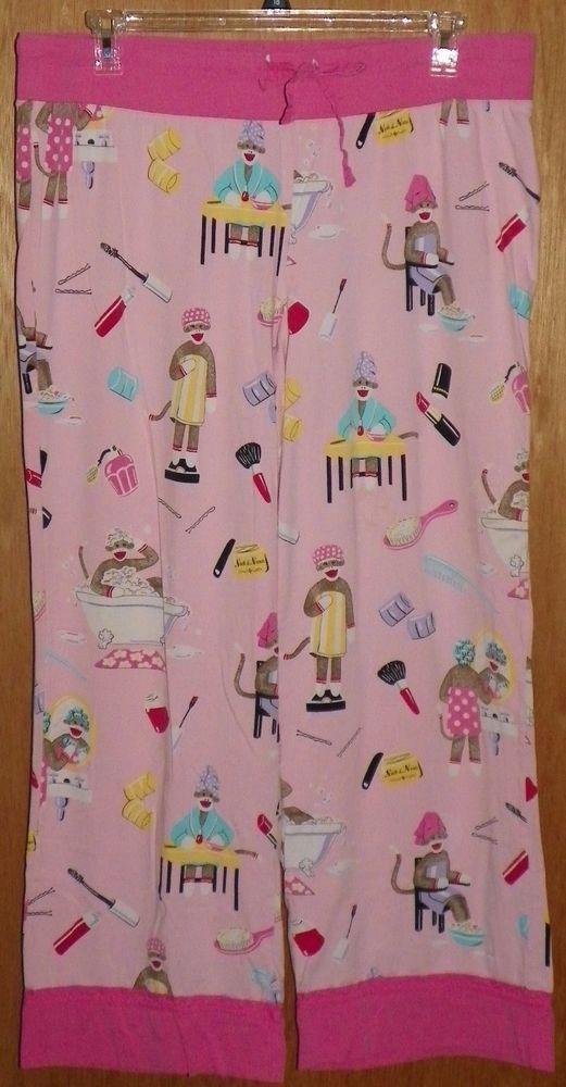 Nick and Nora Pajama Lounge Pants Sock Monkey Spa Day Lipstick Perfume Size XXL #NickNora #LoungePantsSleepShorts