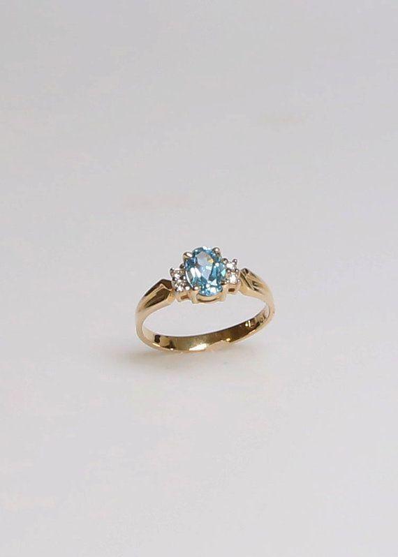Topacio azul Suiza y diamante 14K oro amarillo por DreamColorsGems