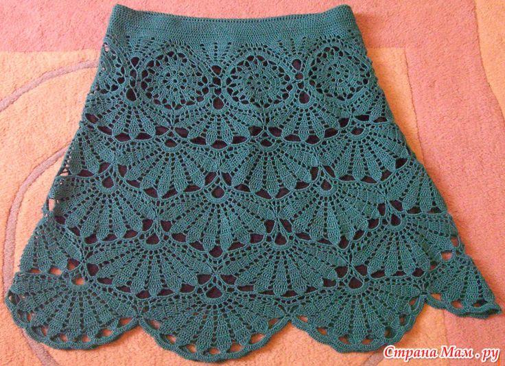 Платье с веерами крючком. Стартуем! Crochet skirt. I'd make it much longer!