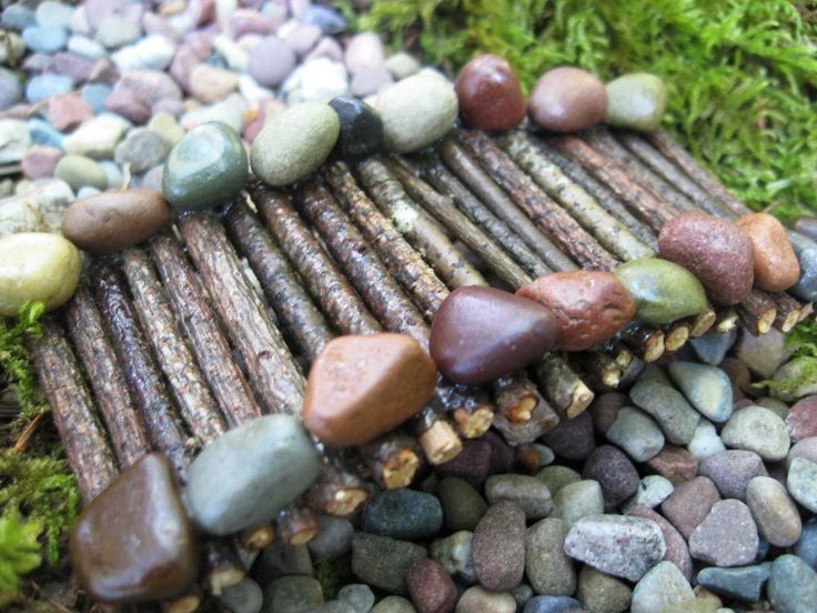 Miniature Garden Bridge handcrafted from pebbles and twigs - OOAK