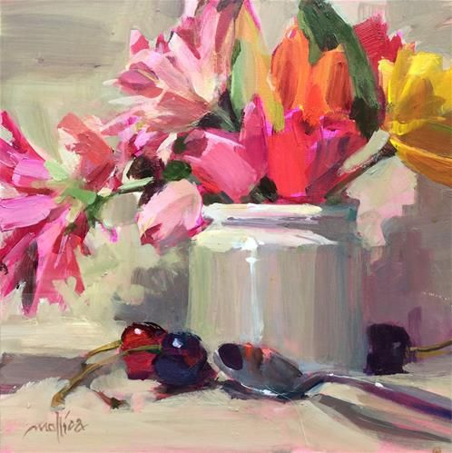 "Daily Paintworks - ""Pink Spots"" - Original Fine Art for Sale - © Patti Mollica"