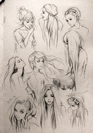 Hair Sketches - I love looking at the middle of the process, when people are still trying out ideas