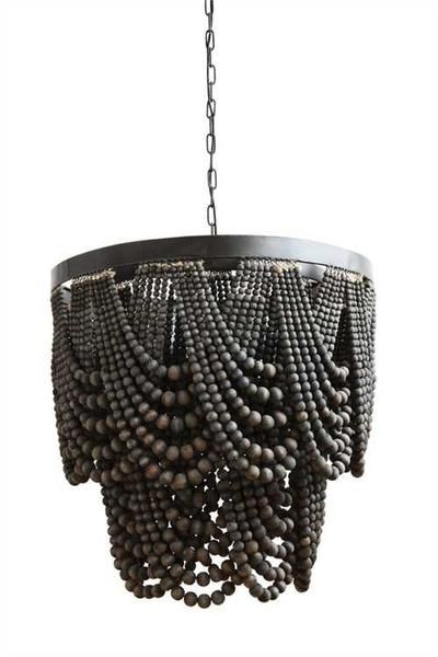 "27-1/2""L x 20-1/5""H Metal & Wood Beads Chandelier w/ 6' Chain & 10' Cord, Black (25 Watt Bulb Maximum, UL Listed) All Lighting is Special Order and will"
