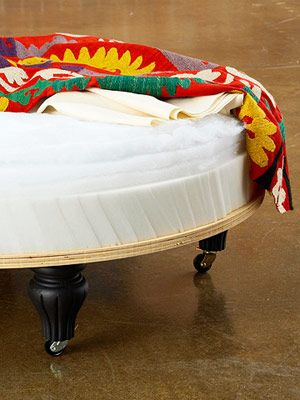I've wanted to make a round upholstered ottoman for a long time.  Here's the how to: