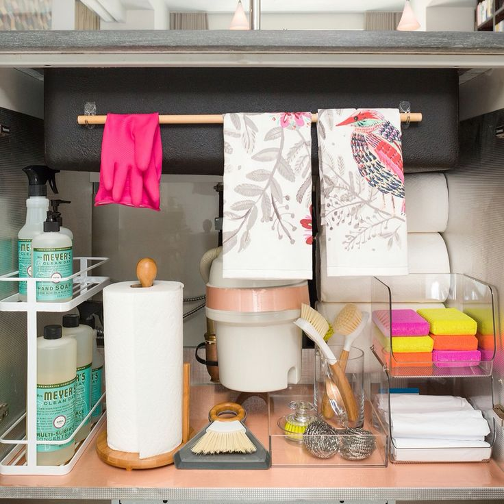 A Dozen Genius Ways To Organize Under The Sink Organization Ideasbathroom Product Organizationapartment Kitchen