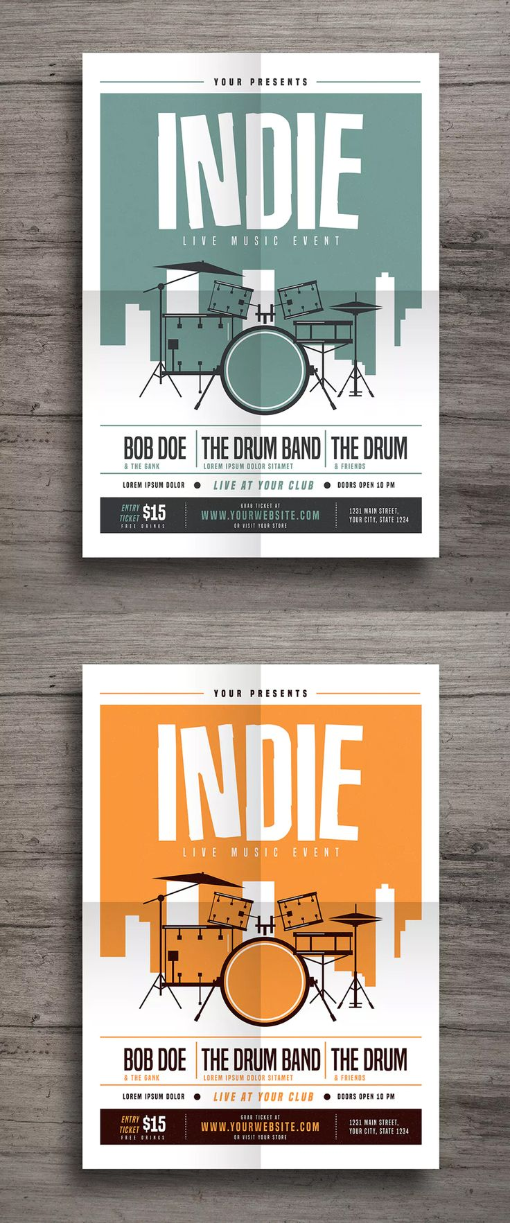 Indie Drum Flyer Template AI, PSD