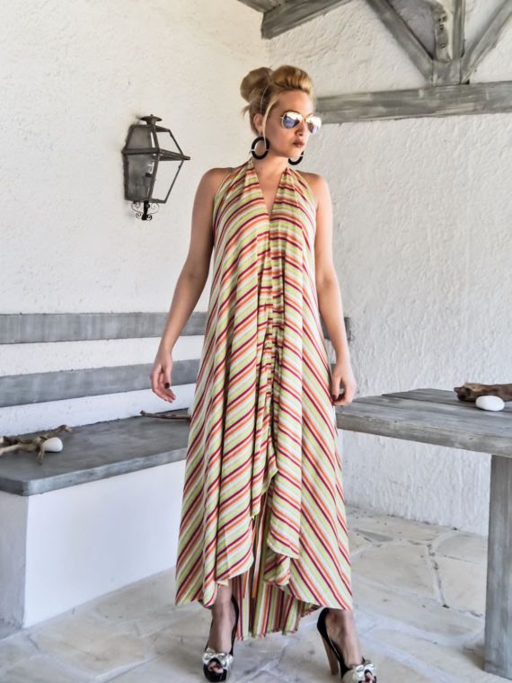 Gestreepte zomer Maxi jurk / gestreepte Kaftan / door SynthiaCouture