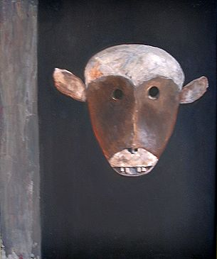 Borneo mask. Oil on canvas