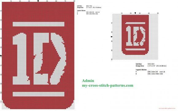 Deux grilles point de croix de Logos de One Direction (click to view)