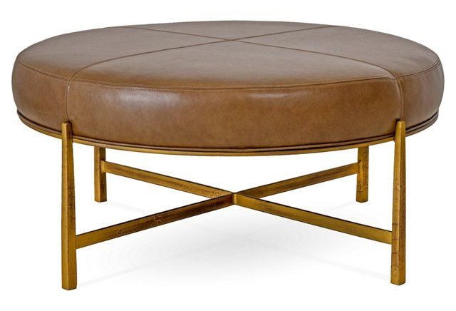 Renzo Round Ottoman Saddle Leather For The Home Round