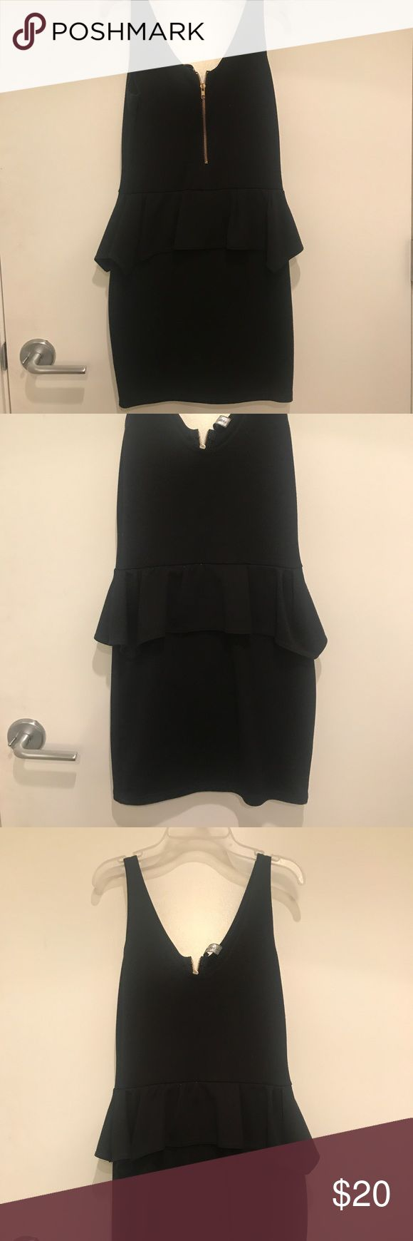 Black Peplum Dress Size M Black Peplum Dress Size M - zipper is the back of the dress. Very flattering! Dresses Mini
