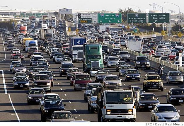 Automobile traffic congestion, such as this on Highway 80 in Berkeley, CA. and countless other locations around the world.