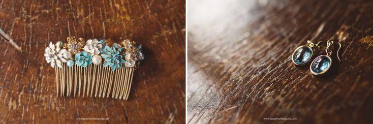 Acessório de cabelo da noiva azul turquesa - Casamento no campo