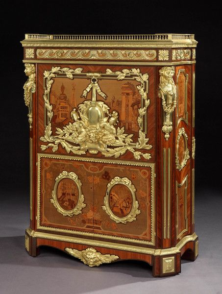 A Truly Magnificent  Antique 19th Century Secrétaire à Abattant by Maison Rogié of Paris After the original in the Wallace Collection, made in 1777 by Pierre-Antoine Foullet (France)